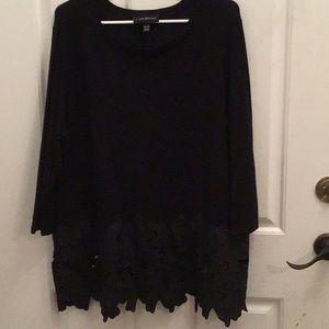 Lane Bryant Black Floral Lace Botton Sweater